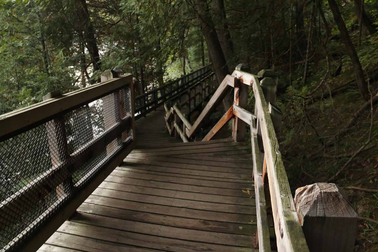The boardwalk leading to perhaps the most direct view of Upper Tahquamenon Falls