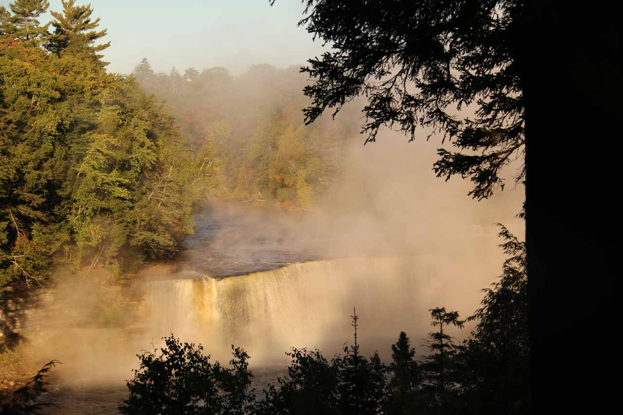The disappointing foggy view of Upper Tahquamenon Falls