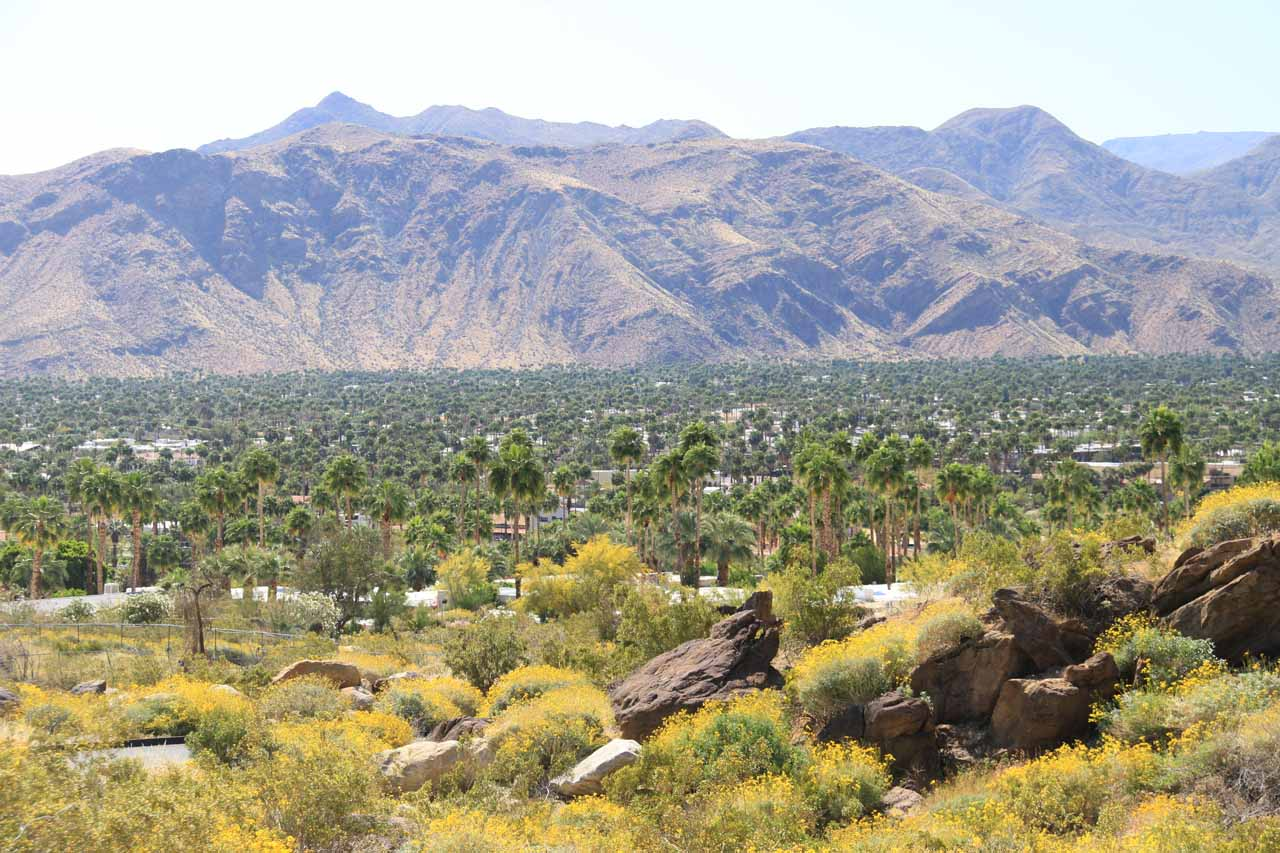 View towards the outskirts of Palm Springs from the car park
