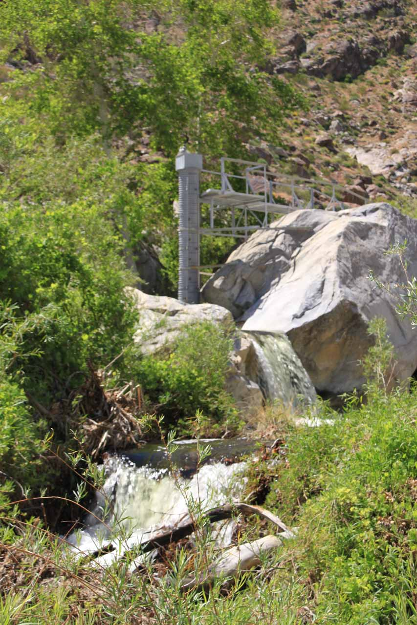 Looking back at some cascades near a gauging station