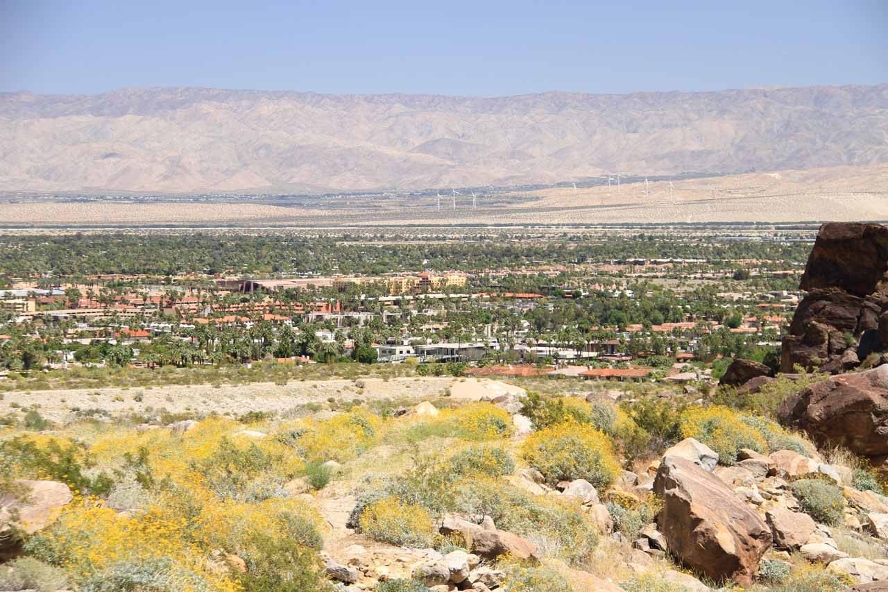 View of downtown Palm Springs on the last descent to the visitor center