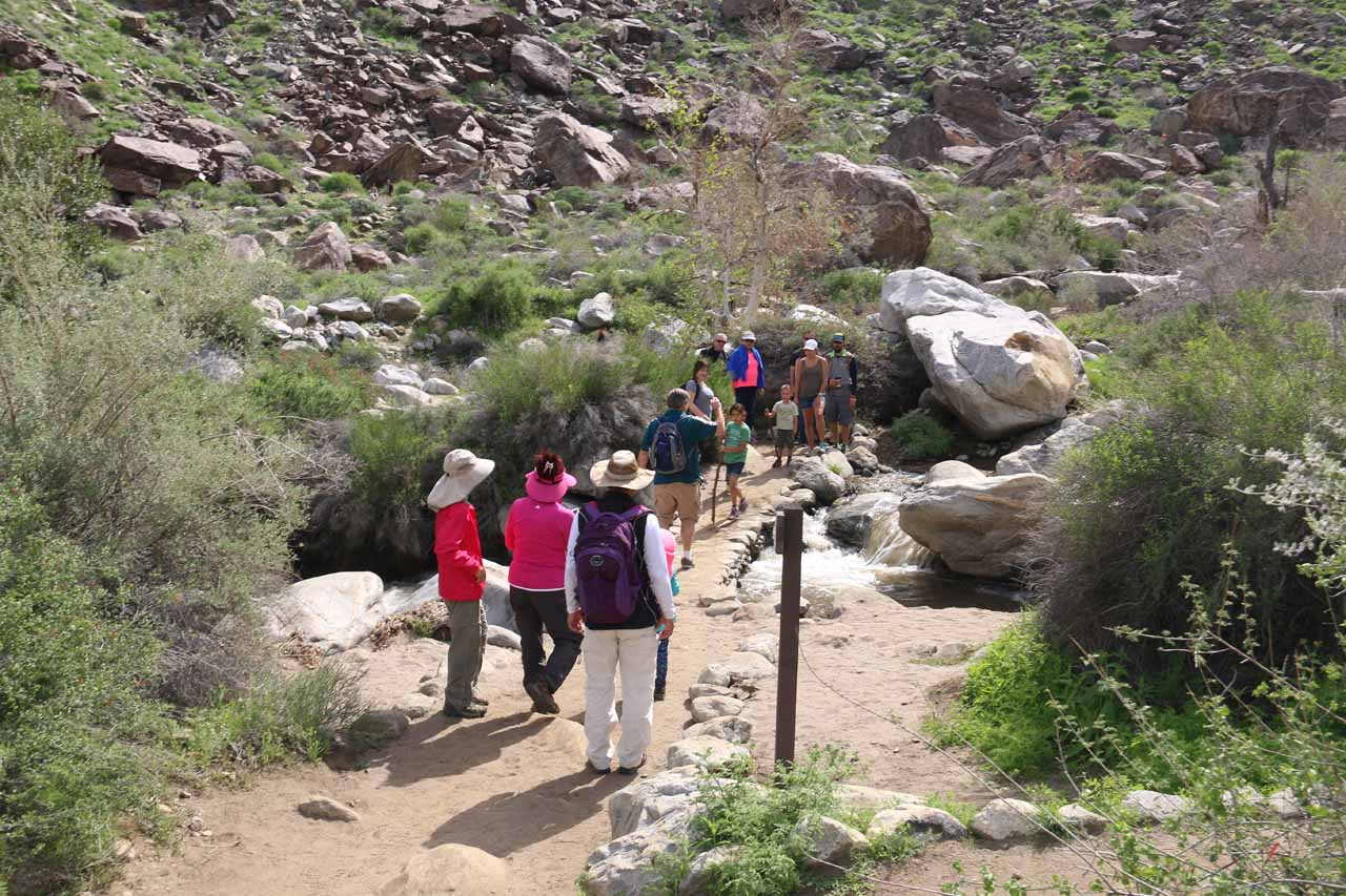 Another one of the bridges traversing Tahquitz Creek. We had to wait our turn here given how busy the trail was