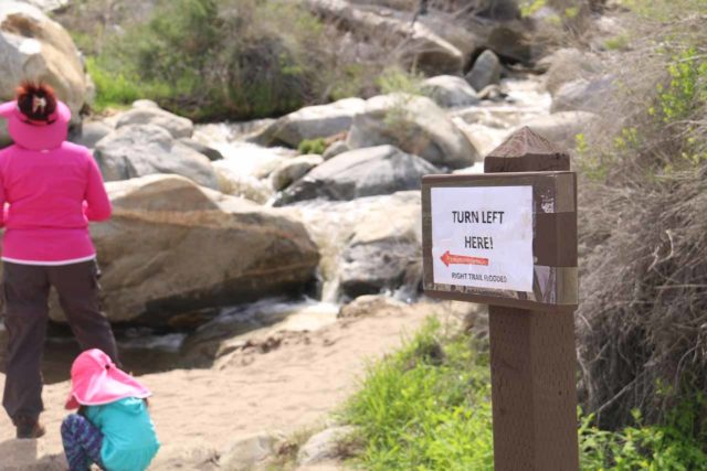 Tahquitz_Falls_032_02252017 - Sign directing us to turn left at the junction and hike the east side of the loop to Tahquitz Falls back in February 2017