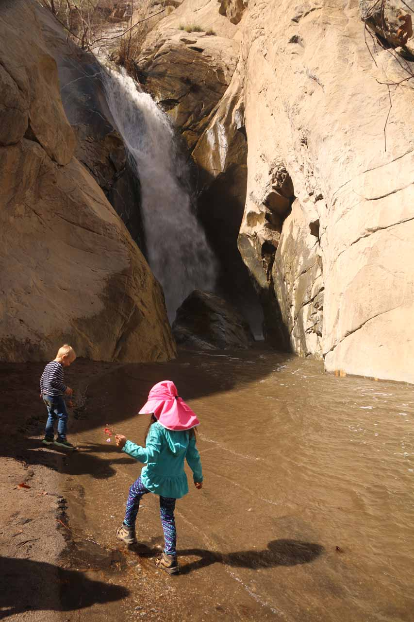 Tahia and some other kid playing in the icy waters of Tahquitz Creek before Tahquitz Falls