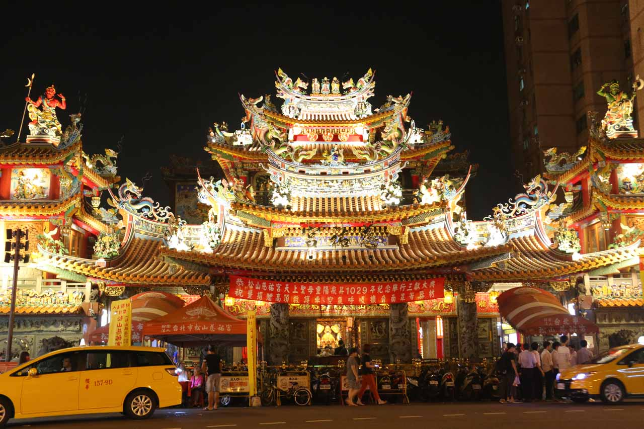 Night markets are a part of Taiwan's culture, and Taipei certainly has no shortage of them. Shown here was the Ciyou Temple at the foot of Raohe Night Market