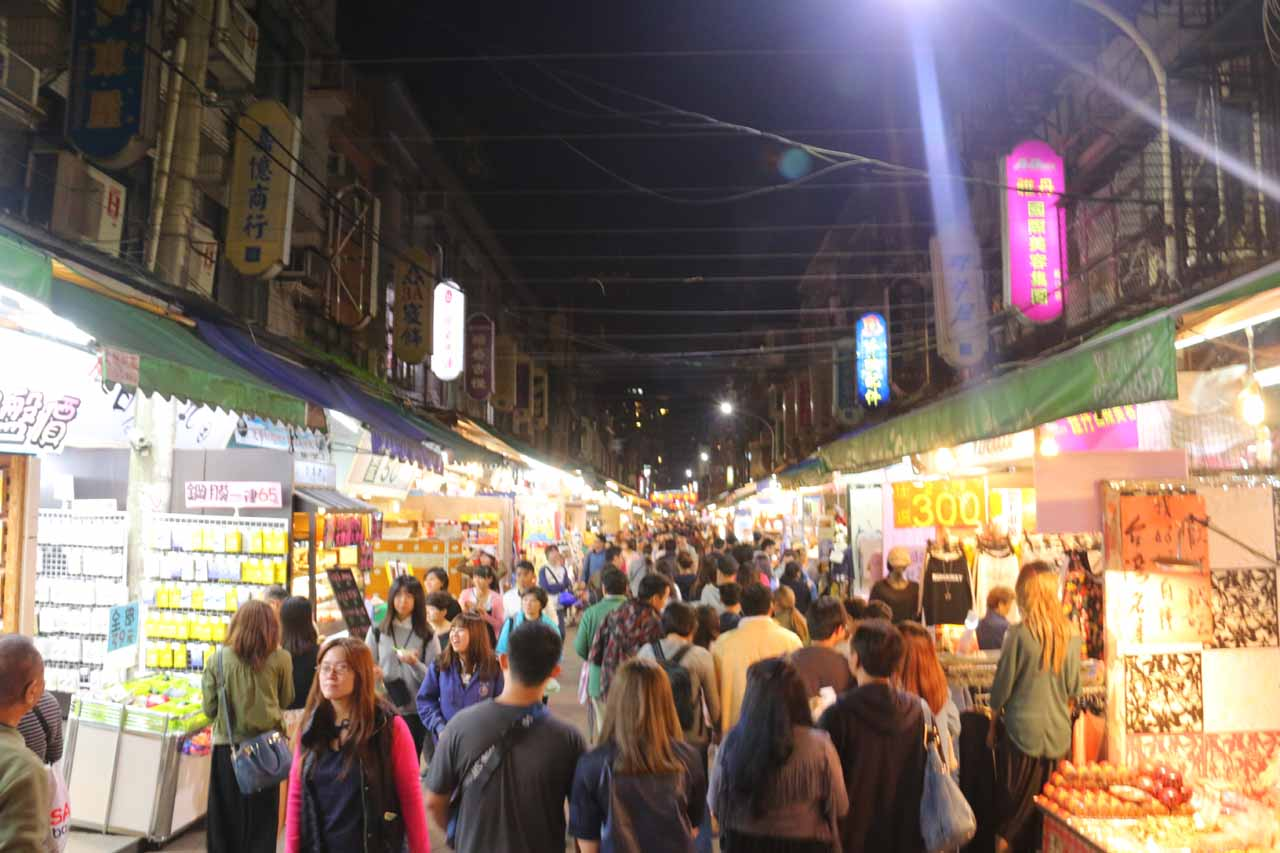 Night markets are a part of Taiwan's culture, and Taipei certainly has no shortage of them. Shown here was the busy Linjiang Night Market