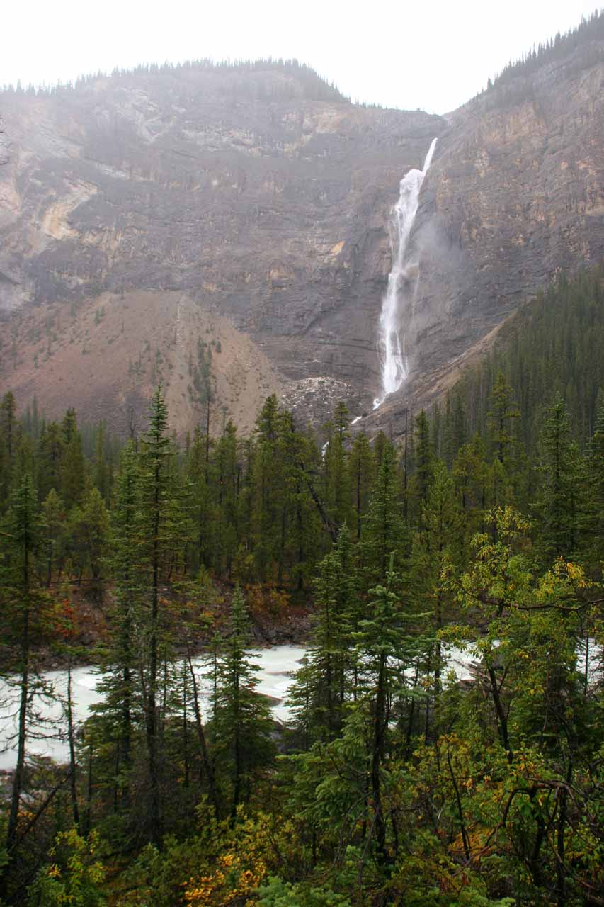 The falls in the heavy rain from the alternate overlook across the Yoho River