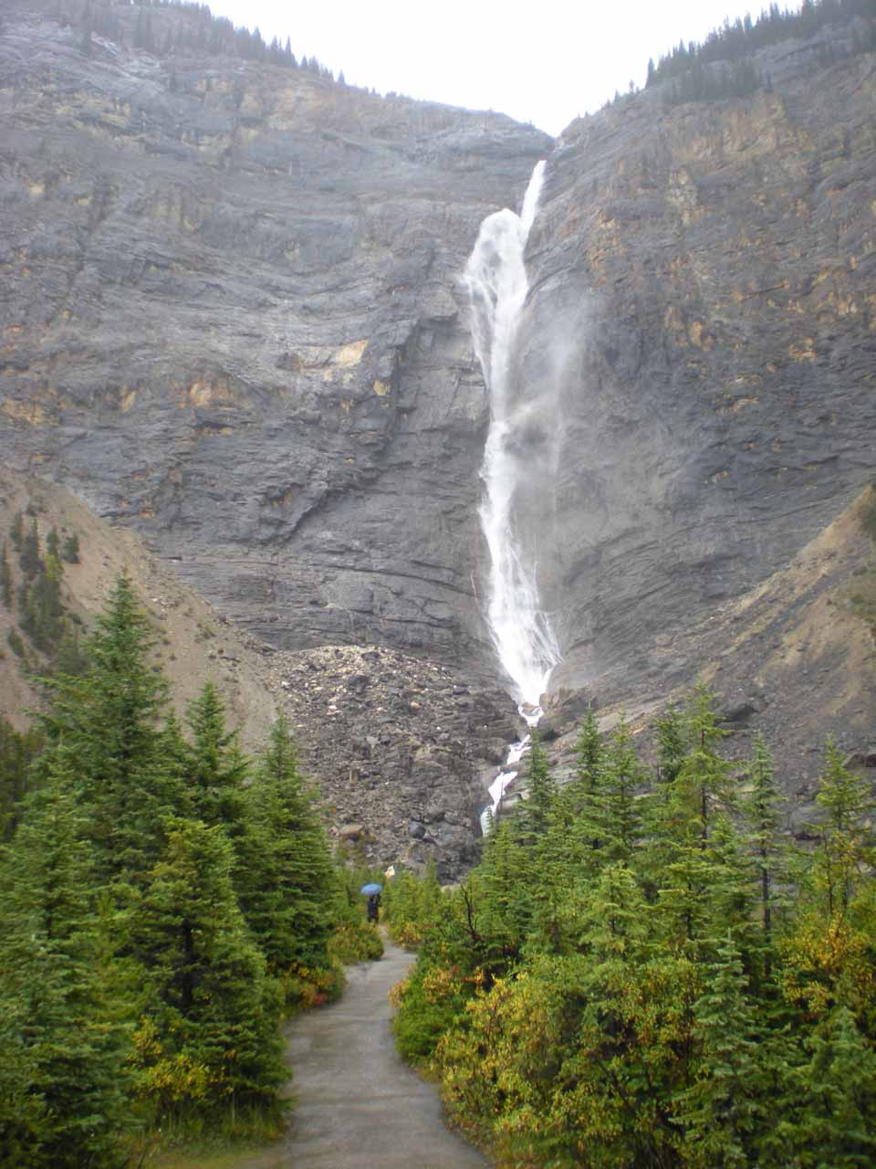 Approaching Takakkaw Falls in the downpour