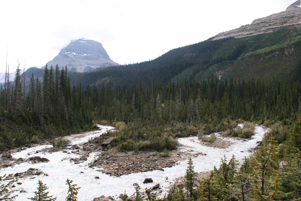 Looking downstream away from Takakkaw Falls