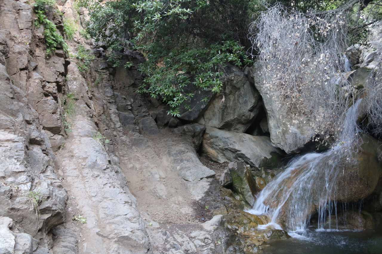 Besides this cascade, we had to scramble up the rock wall to the left of it