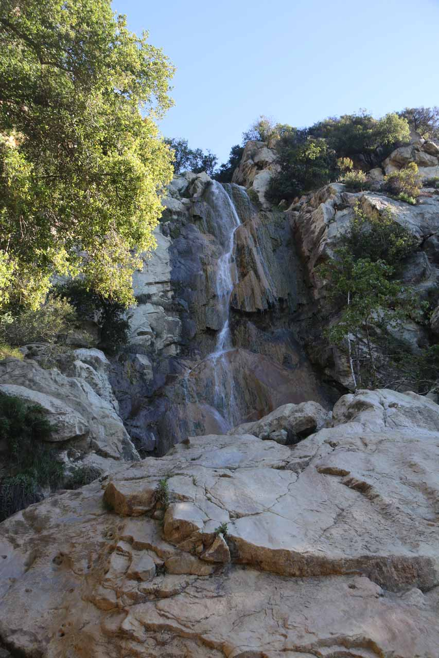 Looking up at the familiar Tangerine Falls