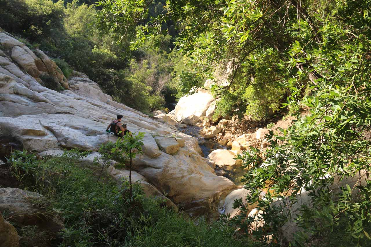A local hiker who was chilling out at this precarious spot just downstream from where I was chilling out at the base of Tangerine Falls