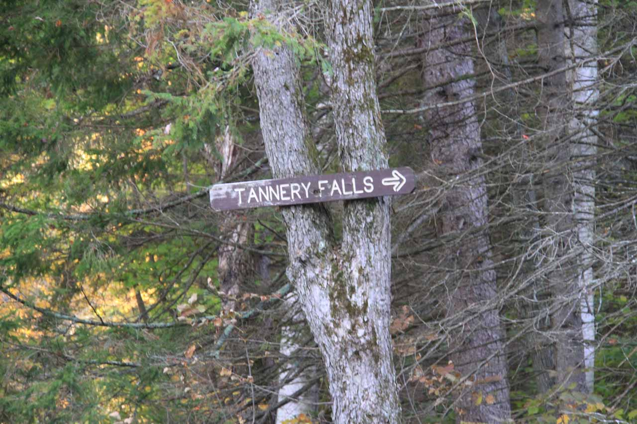This was the elusive sign where I couldn't see it heading east on Tannery Road, but I was able to see it when heading west on Tannery Rd