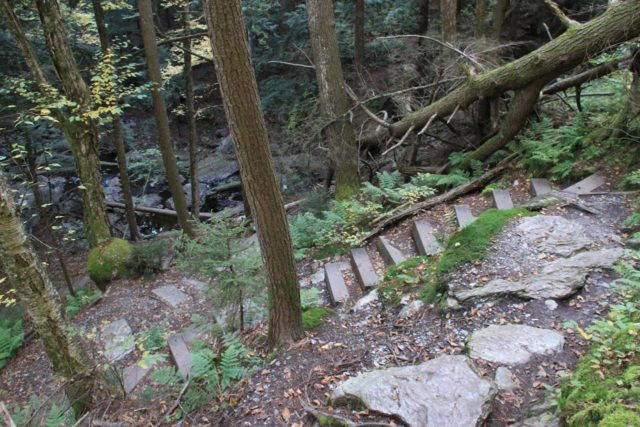 Tannery_Falls_010_09302013 - Descending steps that followed alongside the slope of the Tannery Falls. Such steps made the descent easier and less prone to erosion