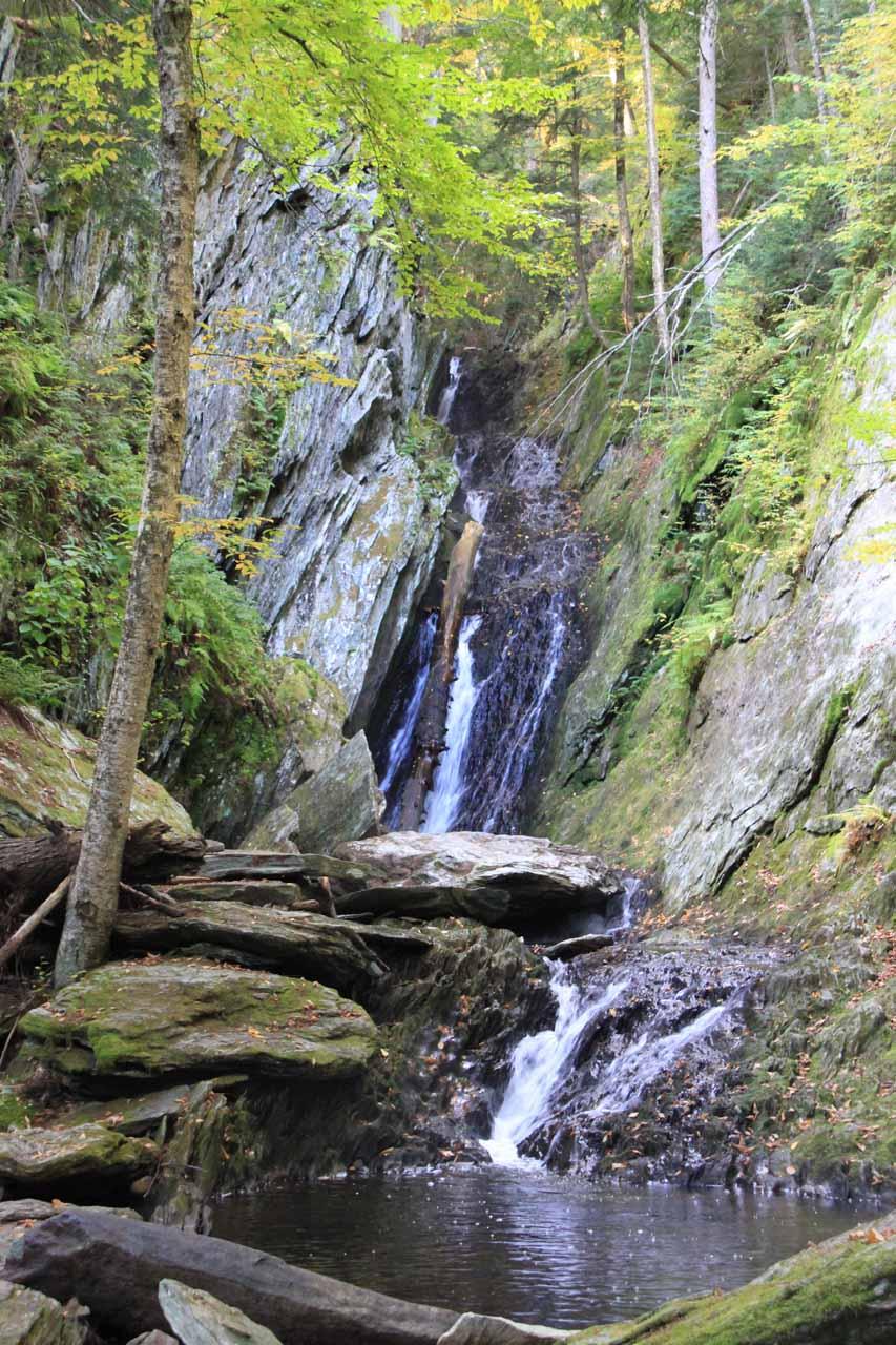 Closer look upstream at the upper tiers of Parker Brook Falls