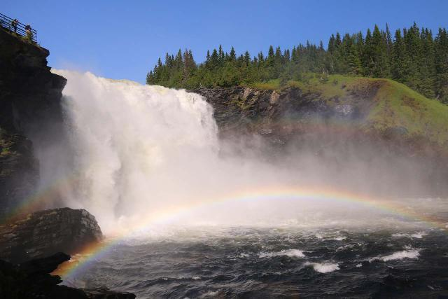 Tannforsen_095_07122019 - Double rainbow arcing before the beautiful main drop of Tännforsen