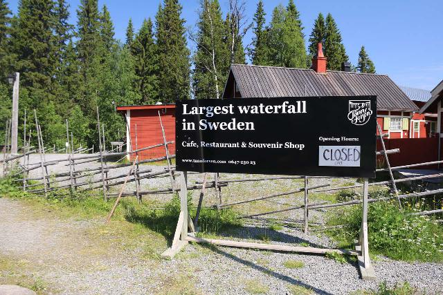 Tannforsen_164_07122019 - Sign at the Tännforsen Tourist Station proclaiming this to be the largest waterfall in Sweden