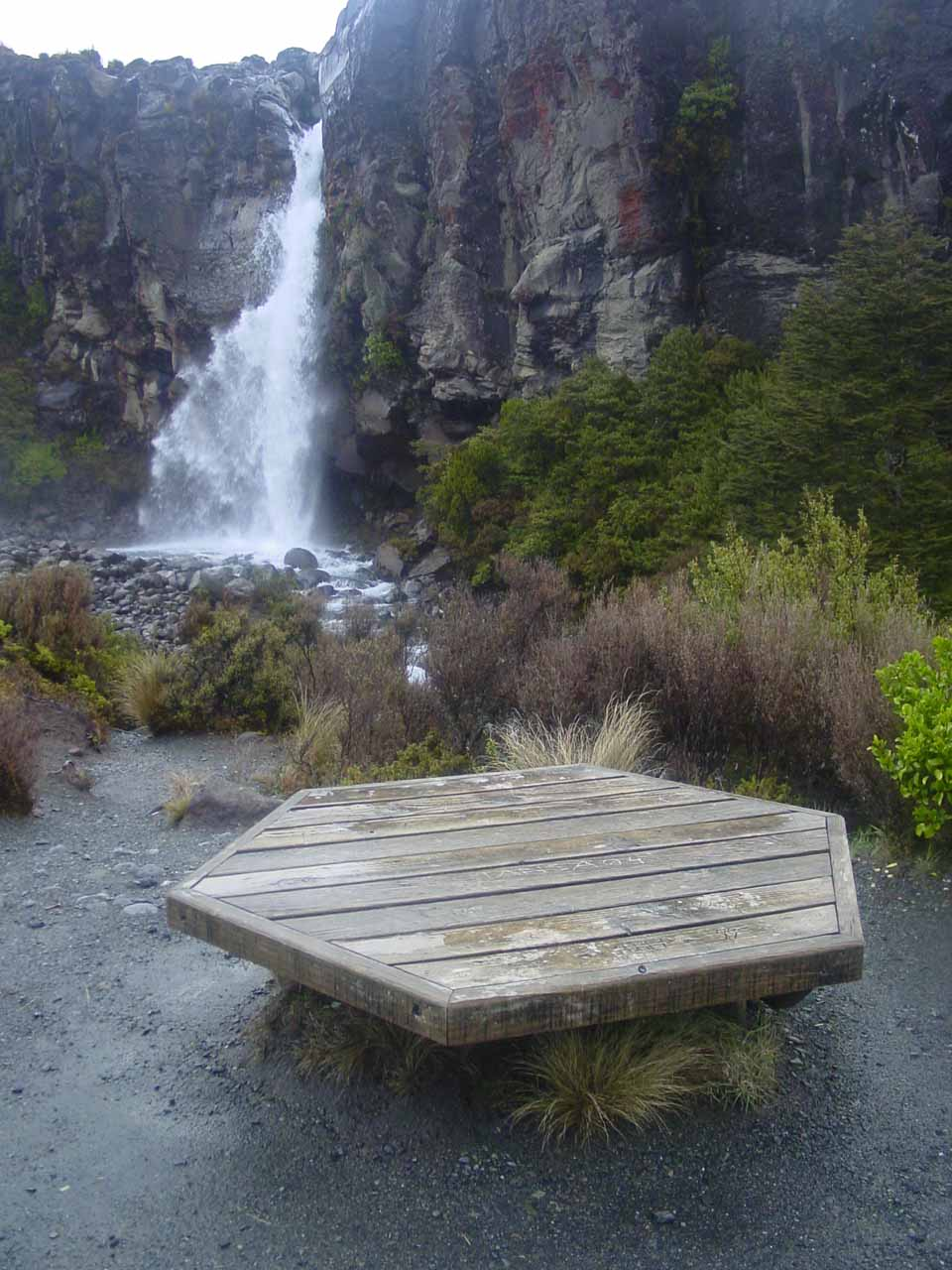 Looking at Taranaki Falls with some weird hexagonal table that I wasn't sure what it was for