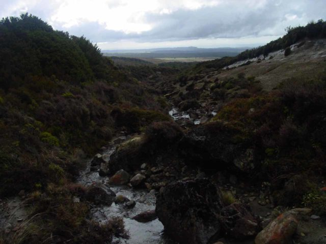 Taranaki_Falls_077_11162004 - Looking down over a stream along the way back to Whakapapa Village from Taranaki Falls to complete the circuit walk