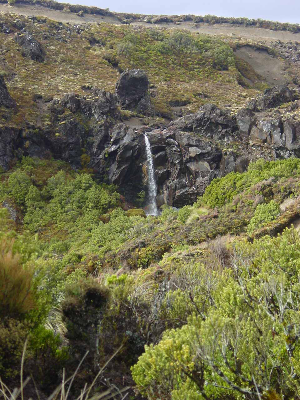 Some other surprise ephemeral waterfall seen on the return hike to Whakapapa Village from Taranaki Falls