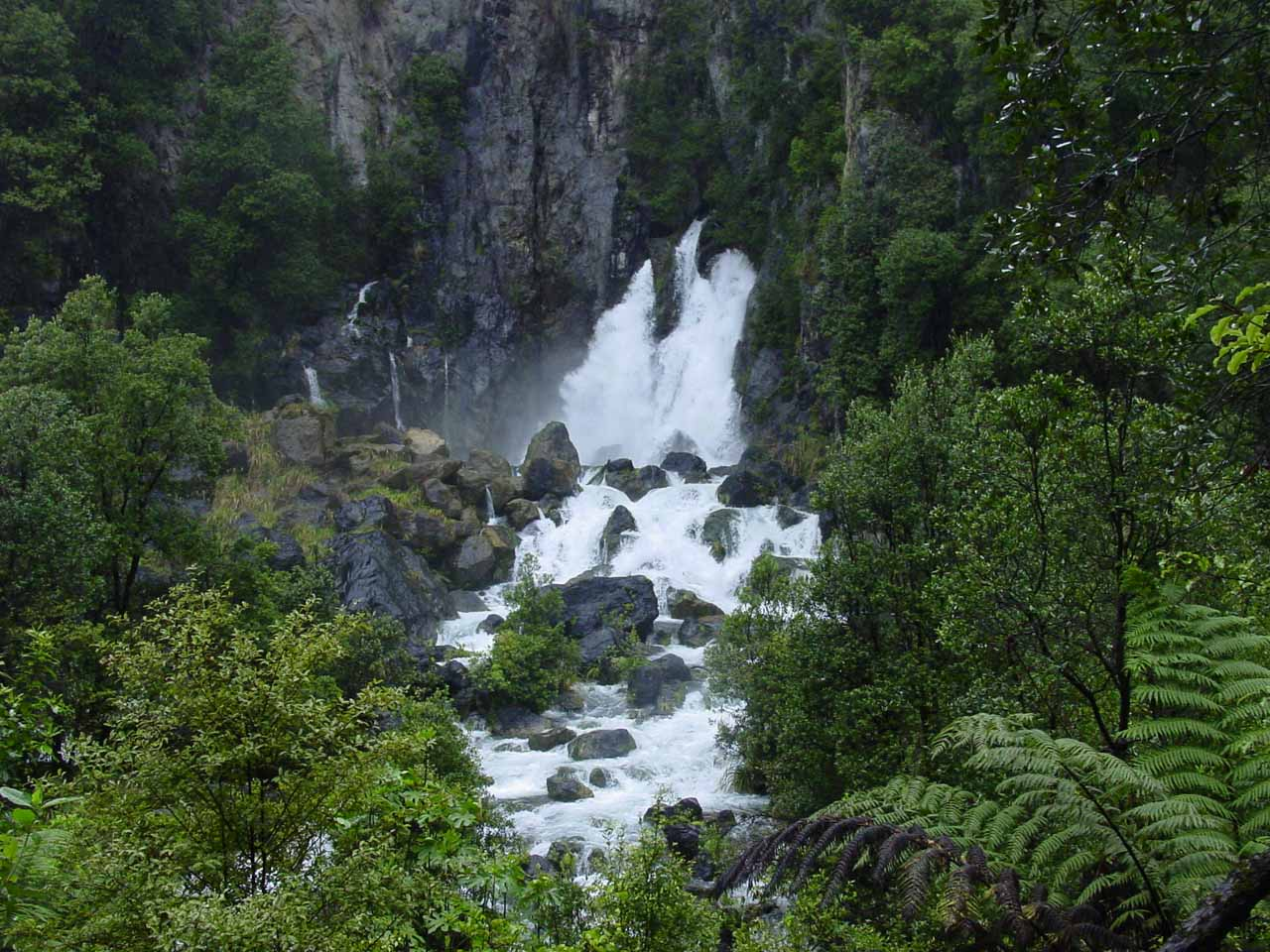 Contextual view of the gushing spring-like Tarawera Falls