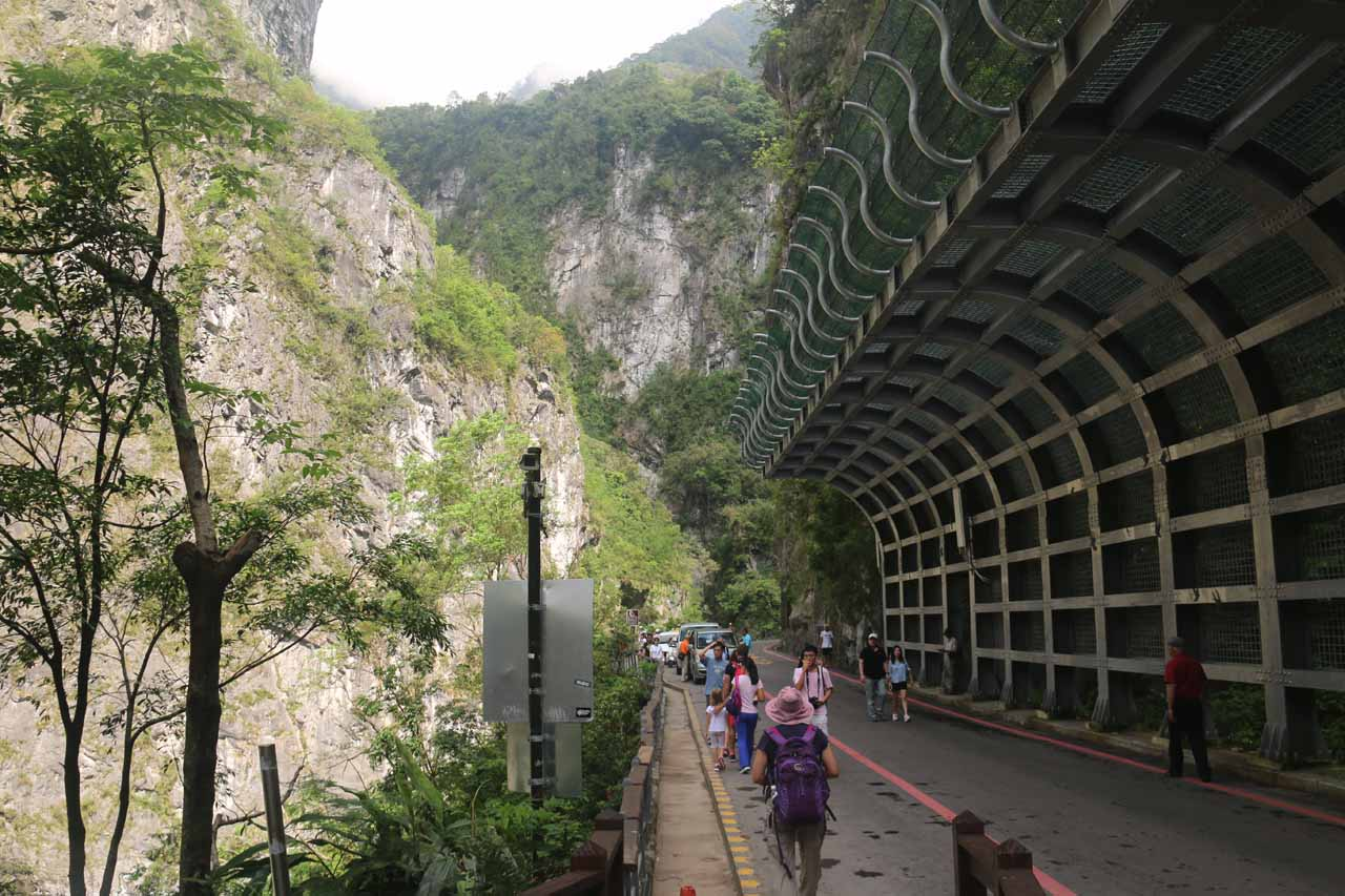 Walking past a large rockfall shelter as we headed towards the Swallow Grotto