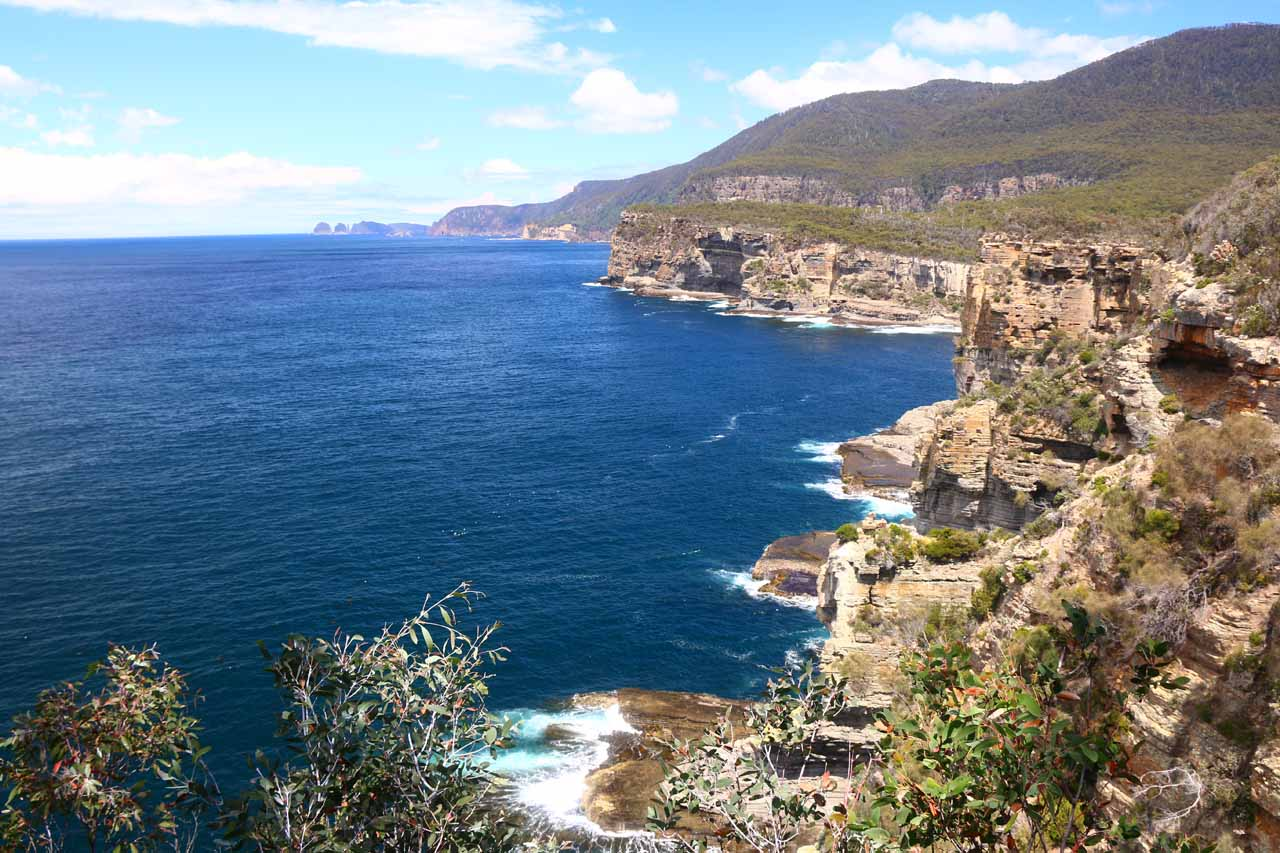Roughly 90 minutes drive to the southeast of Hobart was the Tasman Peninsula, where we were treated to vistas of rugged coastlines (like what's shown here) full of blowholes and sea arches