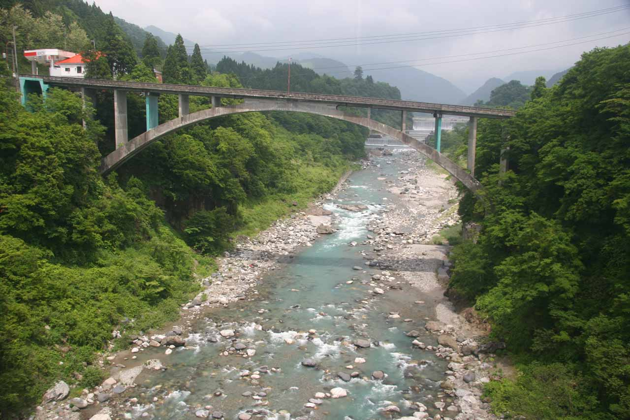 During the train ride between Toyama city and Tateyama station (on the way to Shomyo-daki), the train stopped for this view of another tressel bridge upstream from the one we were on