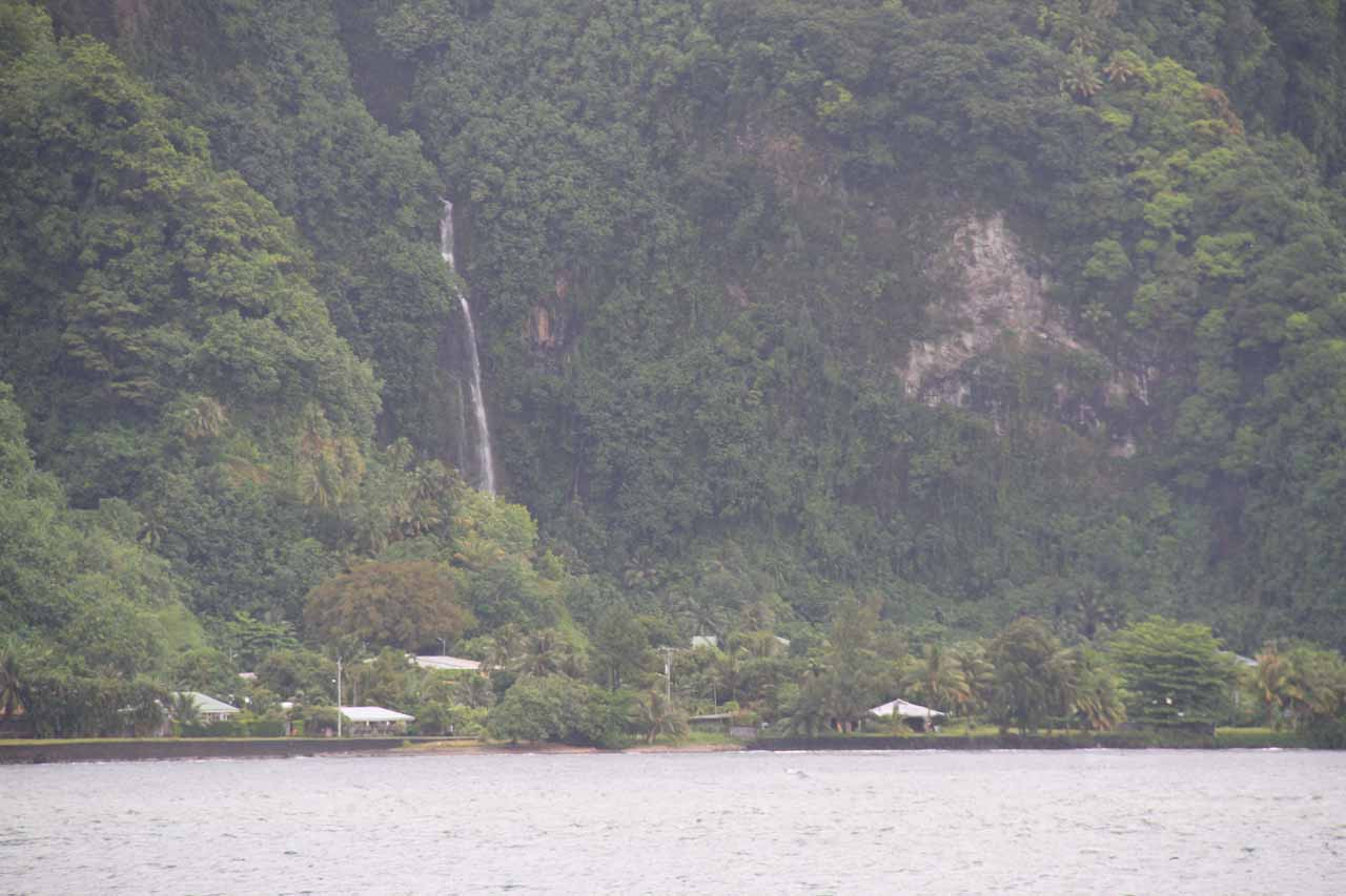 One of several waterfalls as seen from the beach near Tautira