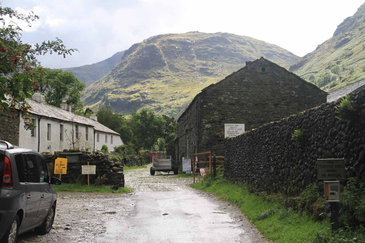 Walking into the Seathwaite Farm where there were also attractive fells surrounding the property