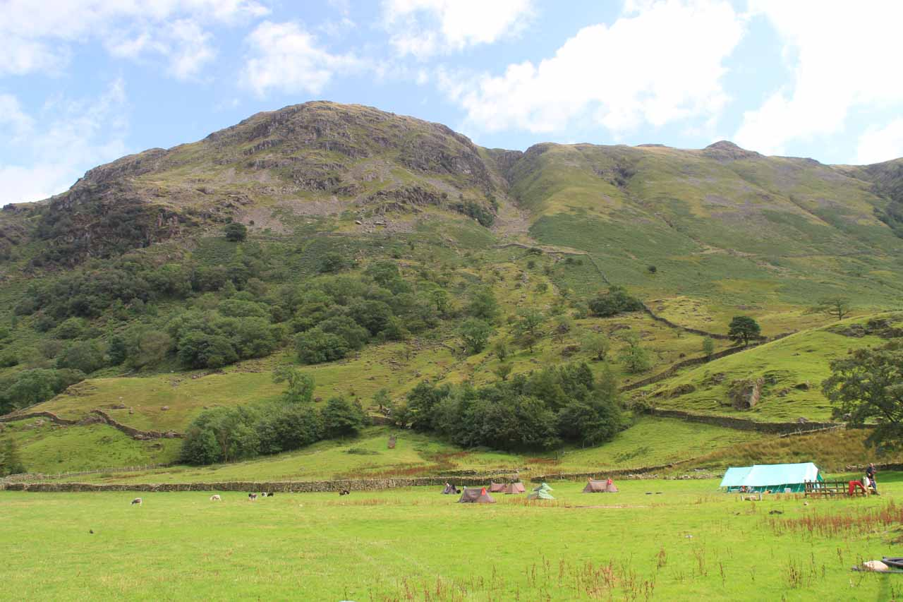 Looking across the Borrowdale Valley towards some fells on the east side