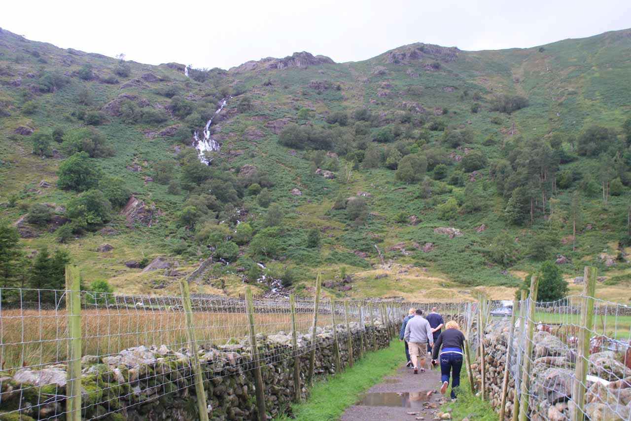 Going through the Seathwaite Farm towards the base of Taylor Gill Force