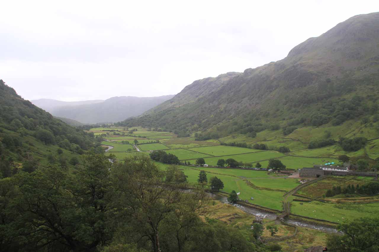 Looking down at Borrowdale Valley while on the Taylor Gill Force path