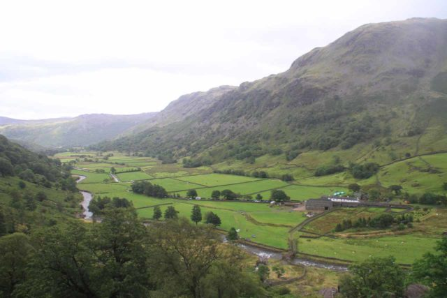 Taylor_Gill_Force_048_08182014 - Looking back down into Borrowdale Valley as I was carefully making my way back down alongside the Taylor Gill Force