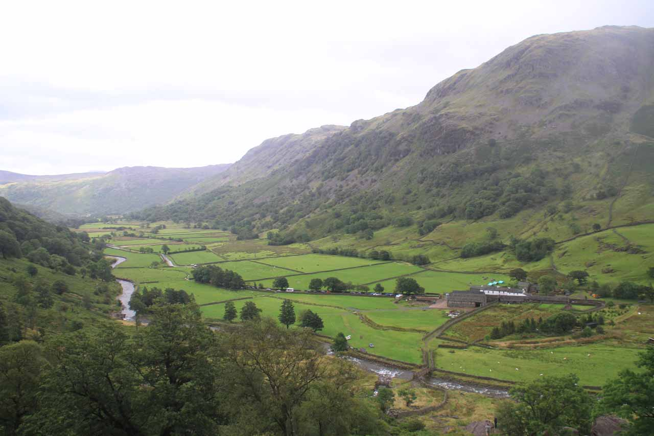 Here's a view looking back down the Borrowdale Valley as I was climbing up alongside Taylor Gill Force