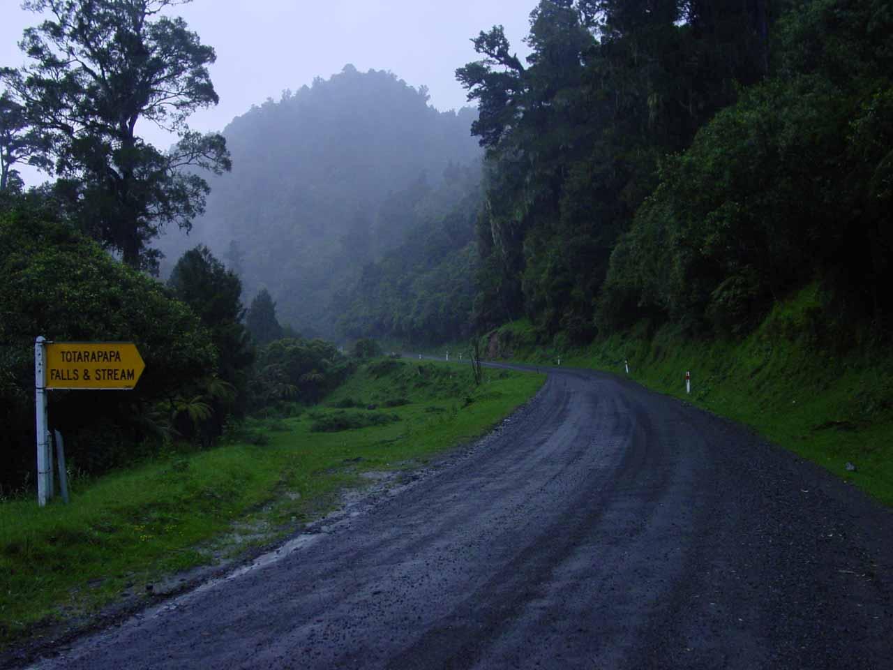 Along the way to Mokau Falls, we also ran across this signpost tipping us off to Totarapapa Falls