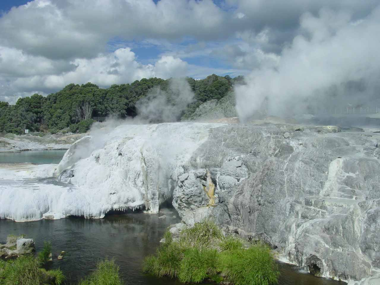 Looking over some terrace towards the Prince of Wales and Pohutu Geyser spots