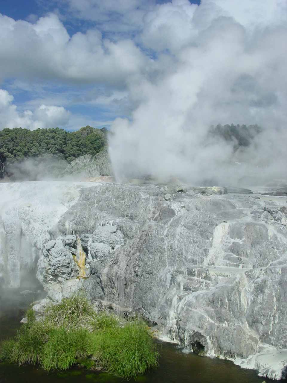 Looking over a terrace to the geysers in Whaka