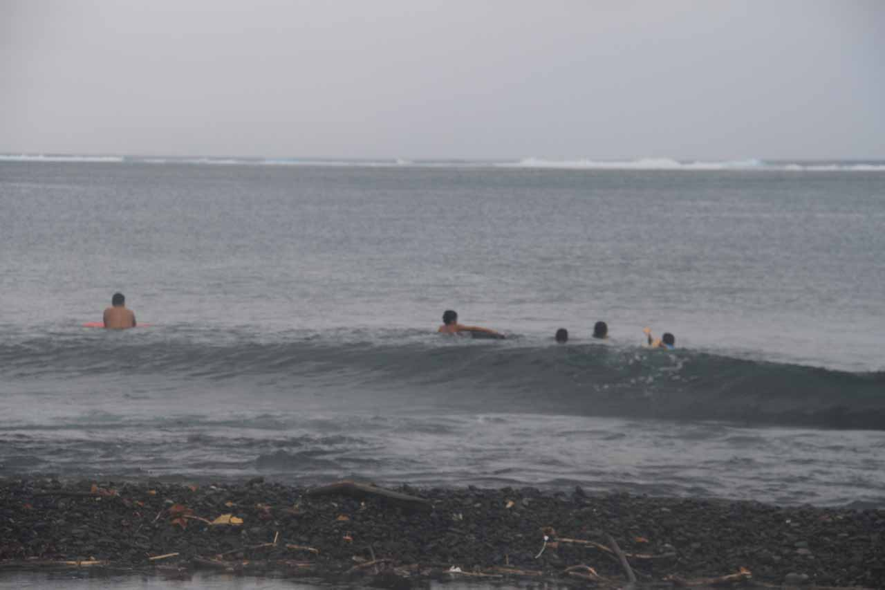 On the other side of Tahiti Iti from Pueu was Teahupo'o, which was well known as a big wave surfing spot though there were no big waves seen on this foul-weather day