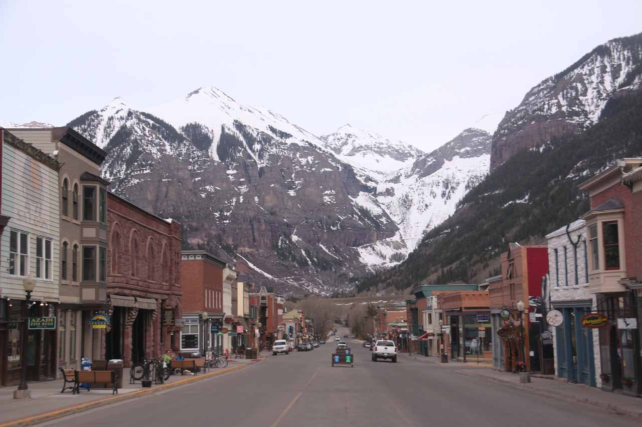 The Rocky Mountain town of Telluride reminded Julie and I of the kind of scenery more typically associated with the Swiss Alps. Although it was dead when we were there, we anticipate coming back