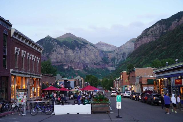 Telluride_017_07222020 - Ingram Falls is the waterfall seen in back of the town of Telluride. Bridal Veil Falls was hidden behind the mountain in the right side of this picture