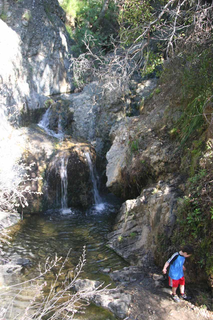 A toddler brings Temescal Canyon Falls down to size