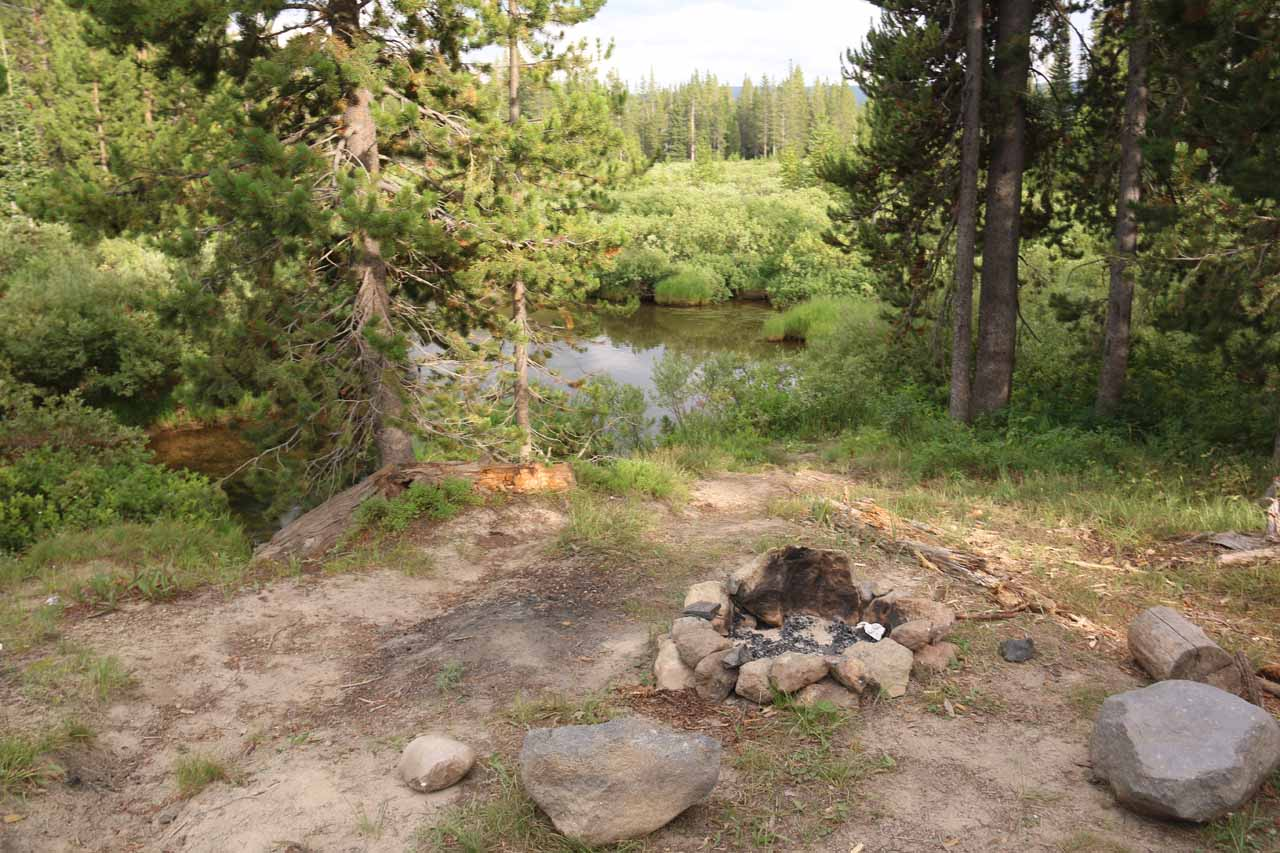 When I made it back up to the Cascade Creek Trailhead, since I was parked across the Grassy Lake Road, I noticed some things I would have otherwise overlooked like this little campfire ring
