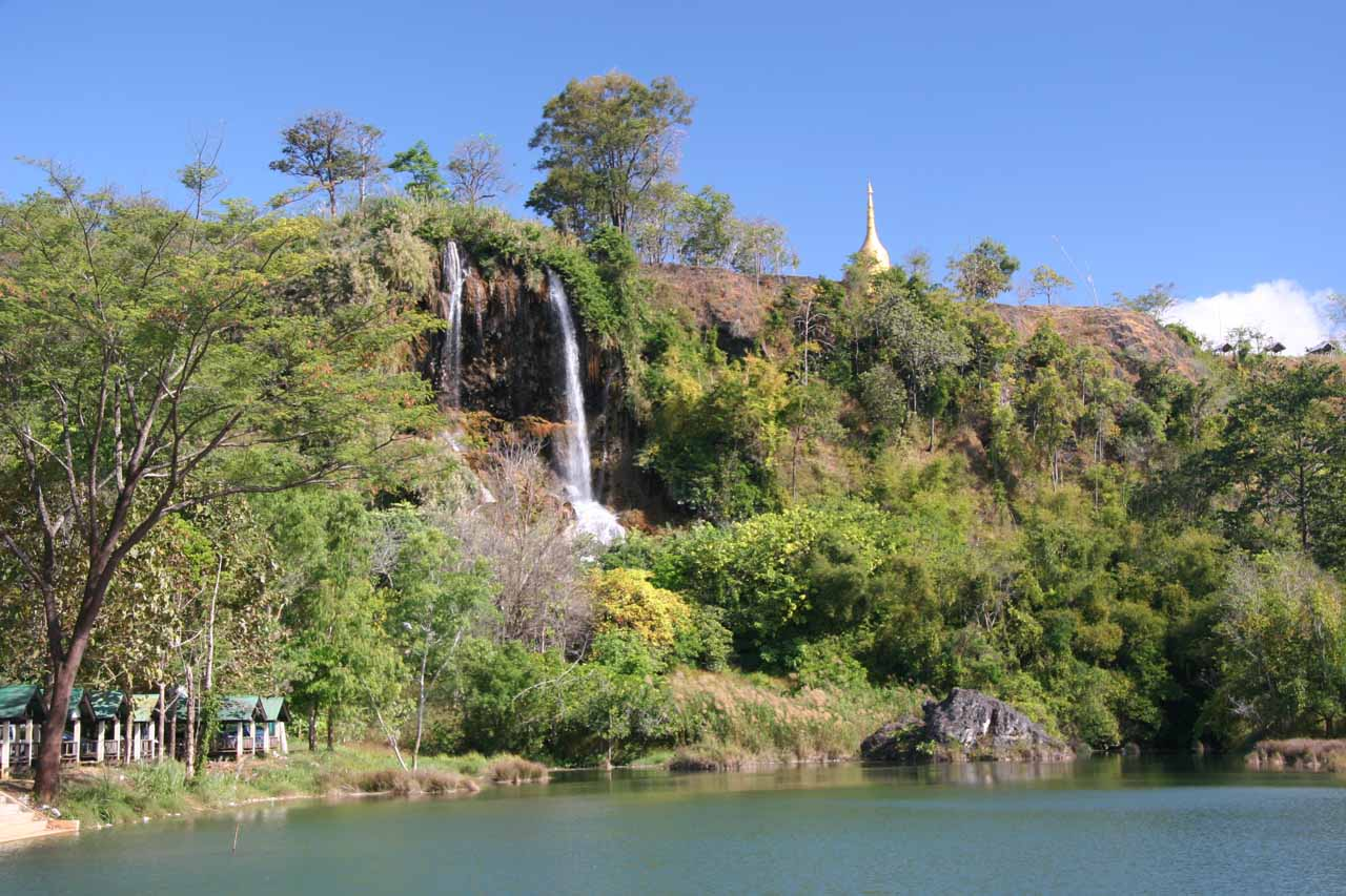 The Thararak Waterfall with chedi and manmade lake