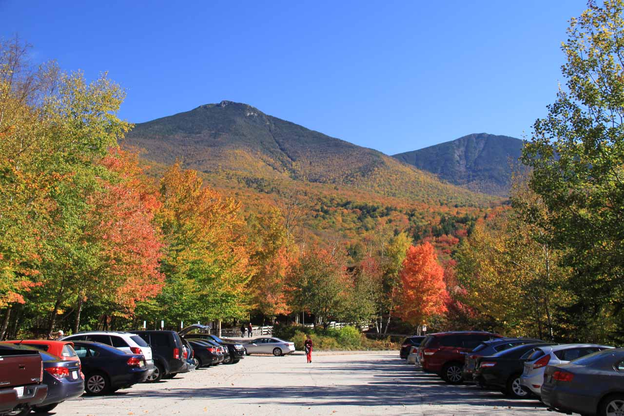 The large car park for the Flume in Franconia Notch State Park