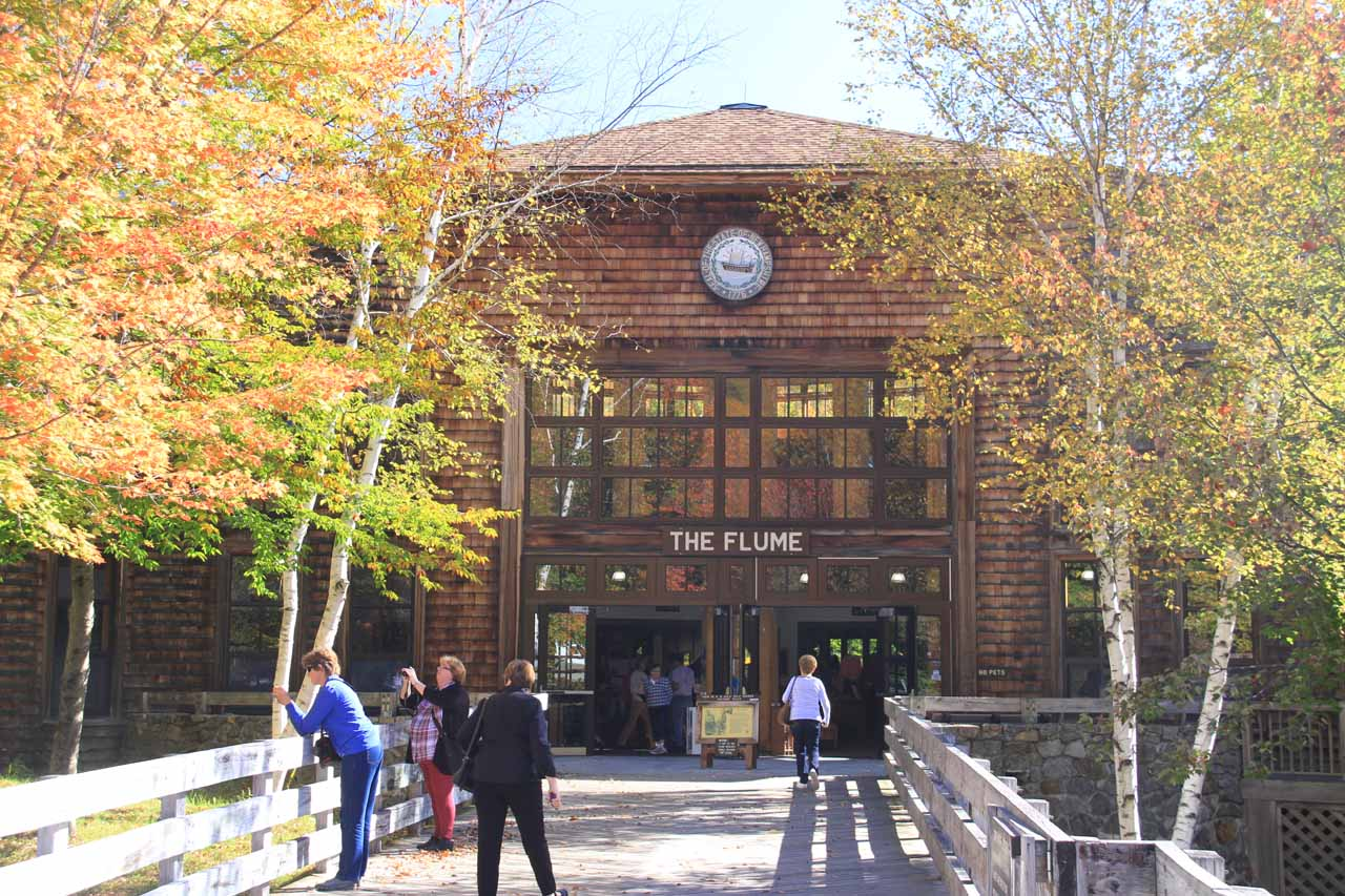The visitor center for the Flume