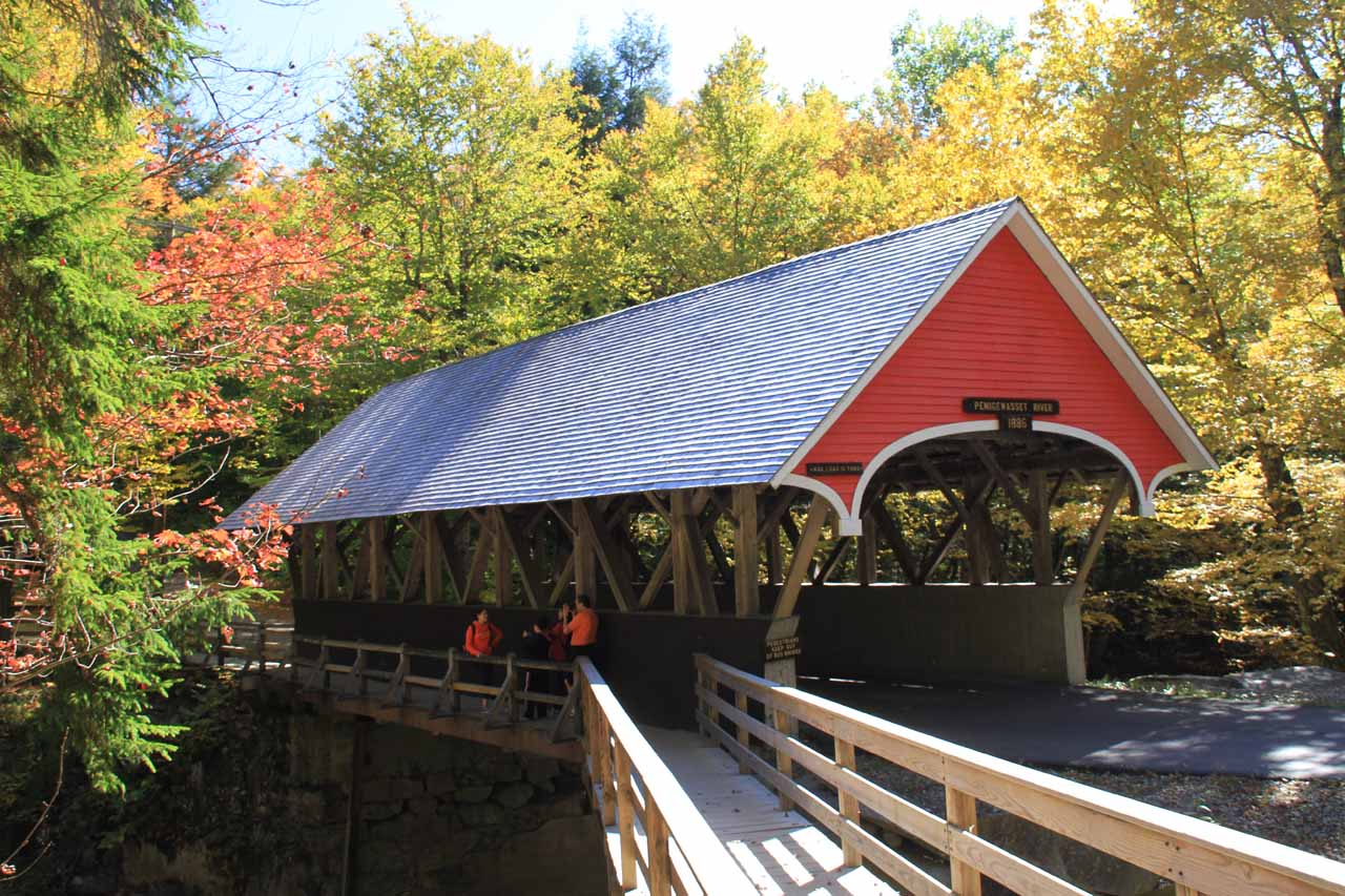 The attractive colored bridge for The Flume