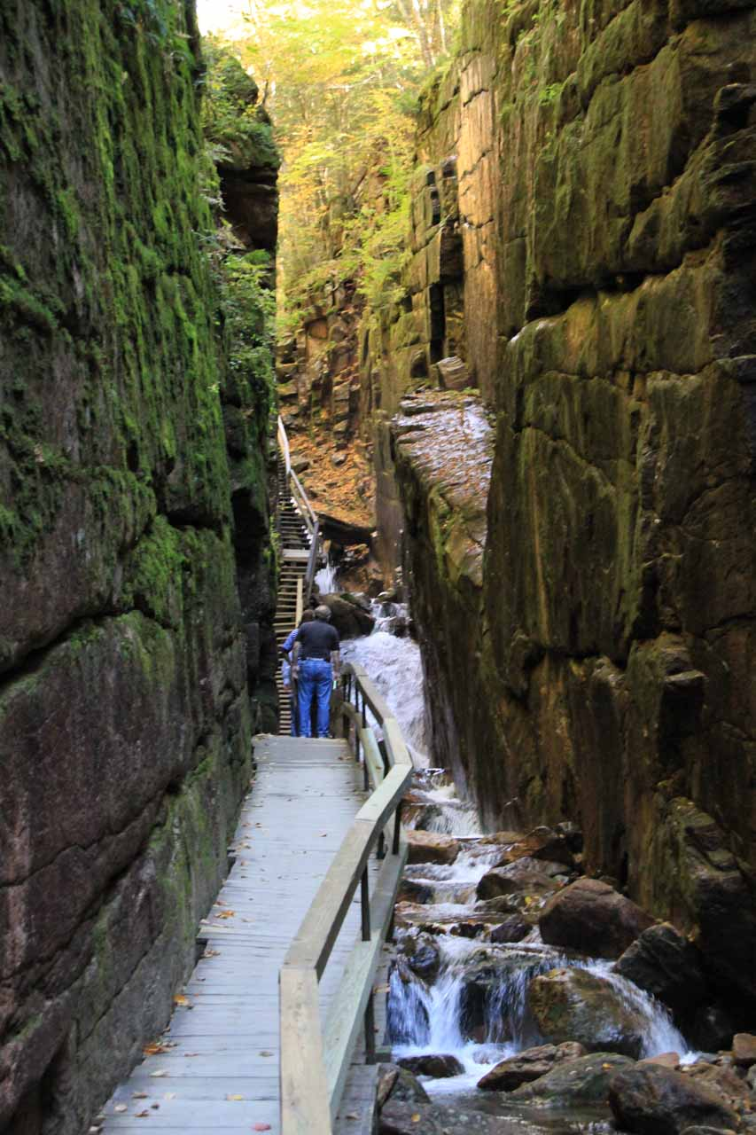 The narrow trail inside The Flume seemed to be clinging onto the gorge walls