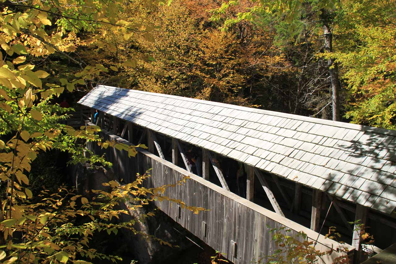 Looking towards the Sentinel Pine Covered Bridge, which was the second covered bridge we encountered on this loop hike