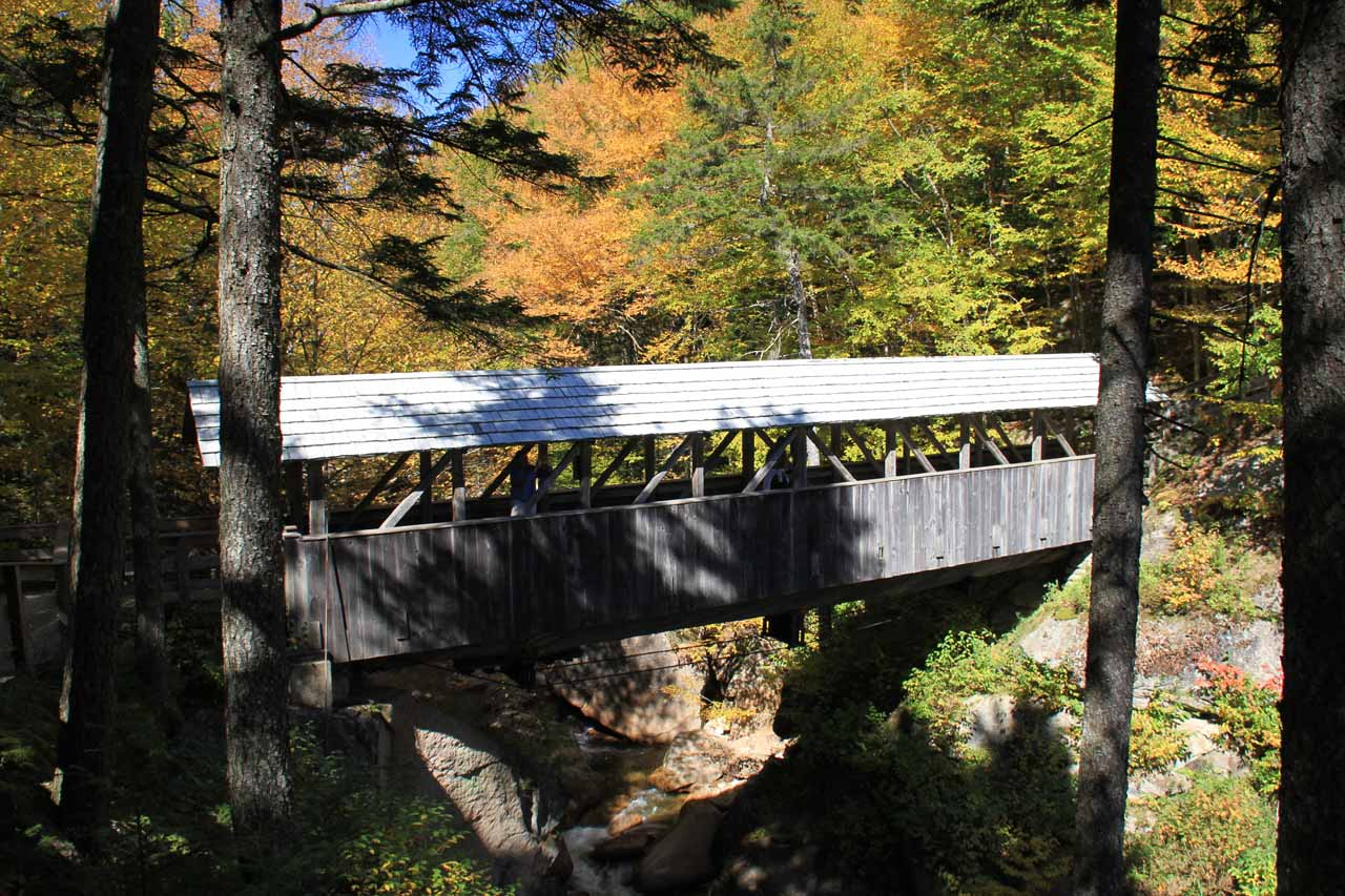 Looking back at the Sentinel Pine Covered Bridge from the other side